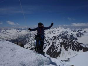 Gipfel Wildspitze mit Bergfuehrer Ivo Meier